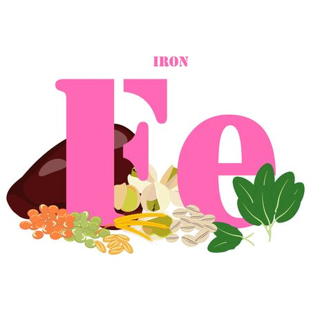 Iron healthy nutrient rich food vector illustration