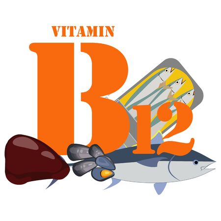 Vitamin B12 illustration on the white background. Vector illustration