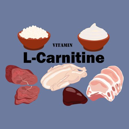 Vitamin L-Carnitine rich food  illustration on the blue background.