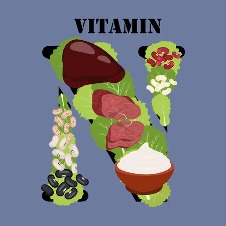 Vitamin N rich food  illustration on the blue background.