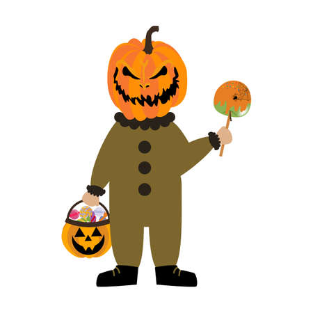Evil pumpkin halloween costume on the white background. Vector illustration Illusztráció