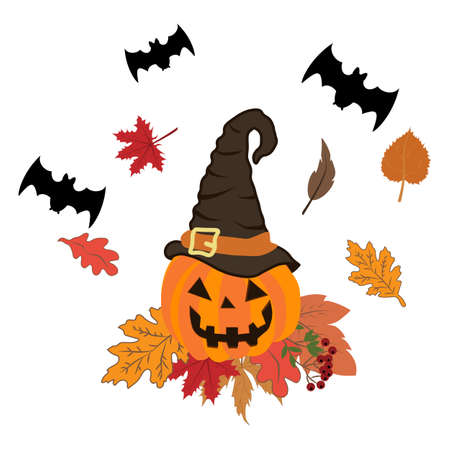 Halloween pumpkin illustration on the white background. Vector illustration
