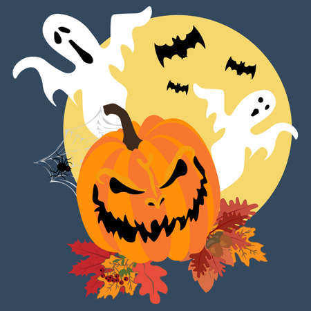 Halloween pumpkin illustration on the blue background. Vector illustration
