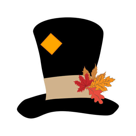 Classic retro black hat with leaves on the white background. Vector illustration