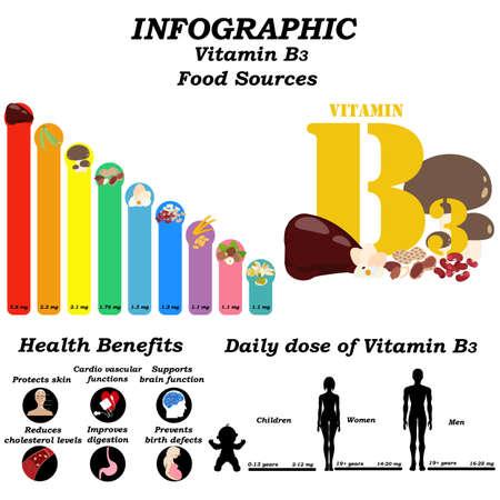 Vitamin B3 infographic illustration on the white background. Vector illustration Illusztráció