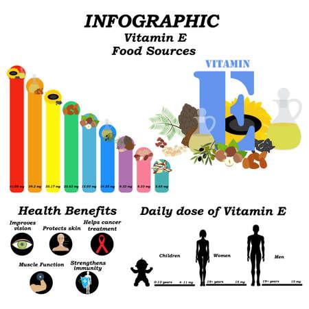 Vitamin E infographic illustration on the white background. Vector illustration