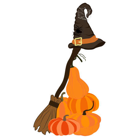 Witch costume broom with hat on the white background. Vector illustration