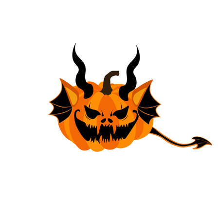 Halloween pumpkin monster with wings and horns vector illustration