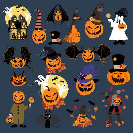 Halloween pumpkins and monsters set vector illustration