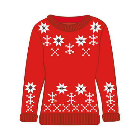 Christmas ugly sweater on the white background. Vector illustration  イラスト・ベクター素材