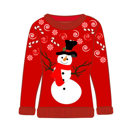 Christmas ugly sweater on the white background. Vector illustration 矢量图片