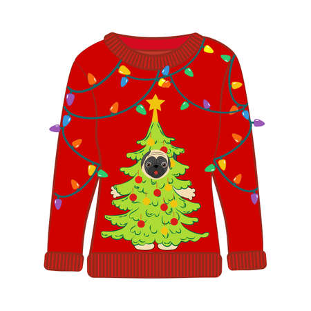 Christmas party ugly sweater vector illustration on the white background 矢量图片