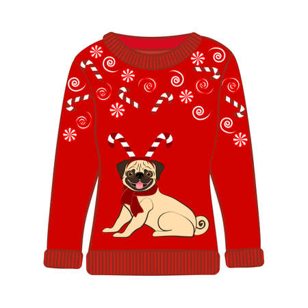 Christmas party ugly sweater vector illustration on the white background