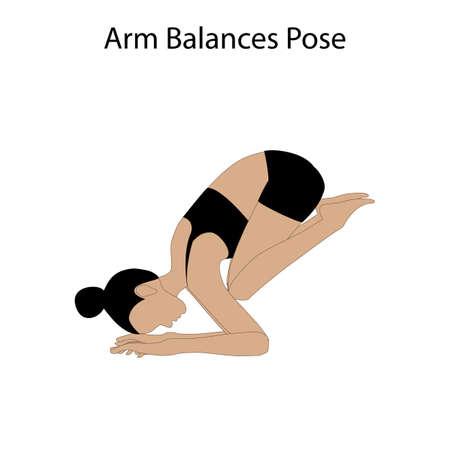 Arm balances pose yoga workout on the white background. Vector illustration