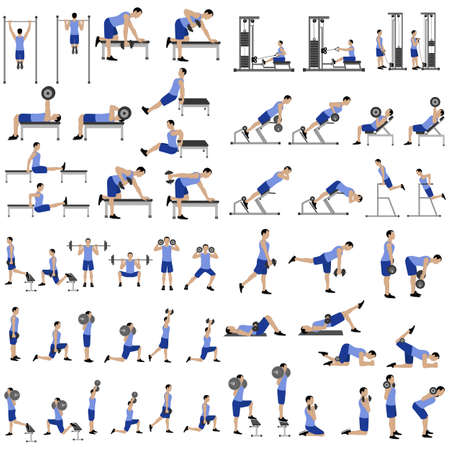 Workout man set. Male doing fitness exercises illustration