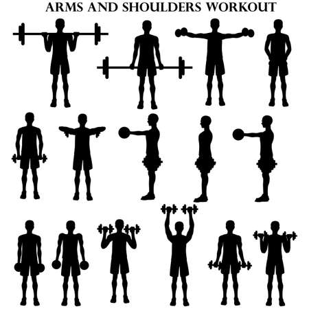 Workout man set. Arms and shoulders workout illustration silhouette on the white background. Vector illustration