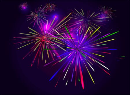 colore: Fireworks from the set of colored flashes in the night sky Stock Photo