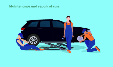 tire fitting: Working day in the service station. Professional workers repairing the car. Illustration