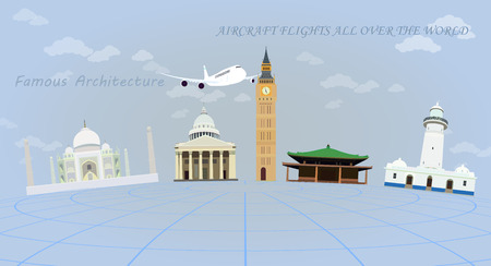 Traveling by plane around the world. Famous architectural buildings