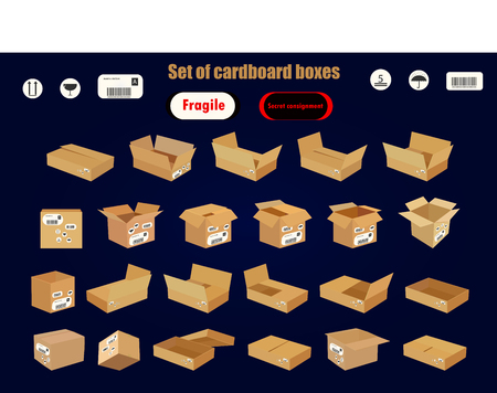 A series of cardboard boxes to transport all types of cargo Illustration