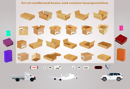 Set of cardboard boxes and courier transportation Иллюстрация