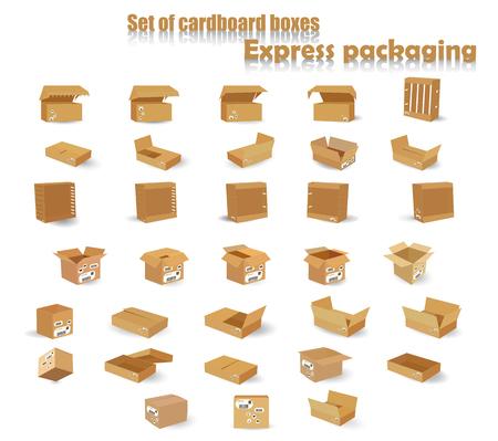 A set of cardboard boxes. Vector illustration