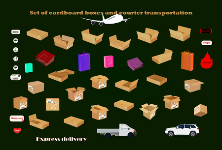 A series of cardboard boxes to transport all types of cargo Иллюстрация