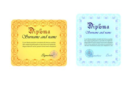 Diploma template illustration.