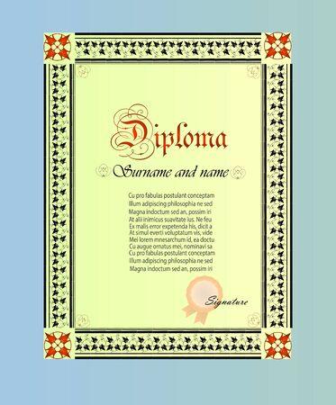 Diploma template illustration. Stock Vector - 93198906