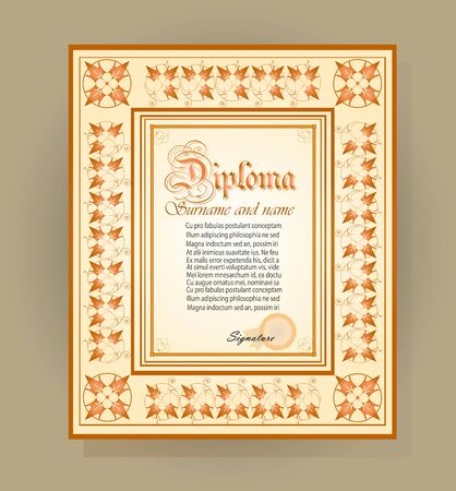 Template creative diploma on the basis of floral ornament Stock Vector - 93198947