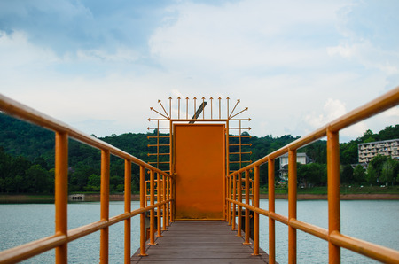 brige: Brige to water gate at Prince of Songkla University Stock Photo