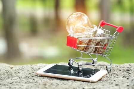 trolley with coins, cell phone and electric glass bulb, idea for shopping and online payment using as business background Stok Fotoğraf - 132391892
