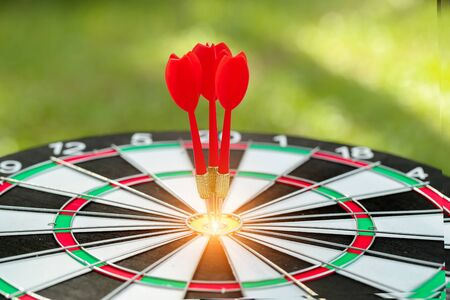 dartboard target center with arrows, idea of financial and business goal, using as background Stok Fotoğraf - 132391928