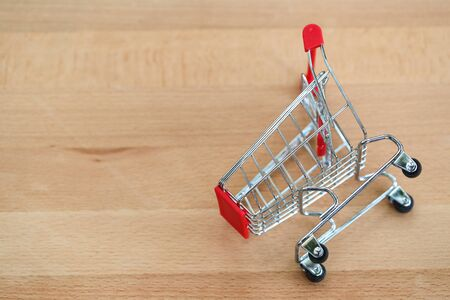 trolley on wooden with copy space using as business background