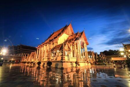 Wat Suthat Thep Wararam in Bangkok, Thailand (twilight time)