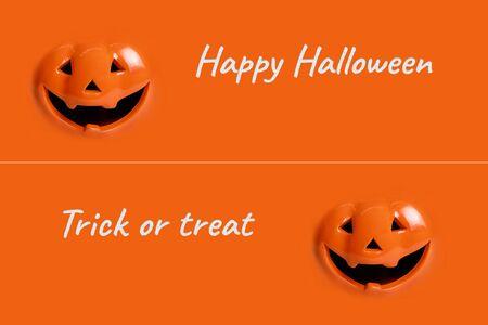 hello halloween pumpkin and trick or treat on orange background Stok Fotoğraf