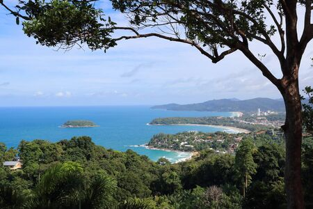 beautiful beach view on the mountain with blue sky and trees