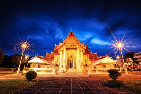 Wat Benchamabophit in Bangkok, Thailand at night time (Marble Temple)