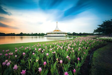 beautiful view of Suan Luang Rama IX Park Bangkok, Thailand with sunset and water refection