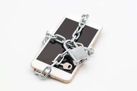 smart phone with chain lock and money isolated, idea for technology with security