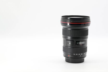 closeup camera lens on isolated and white background 写真素材