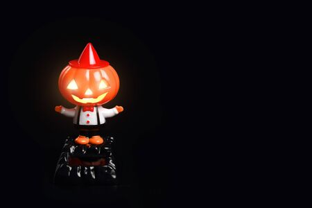 cute halloween pumpkin on black background