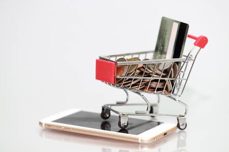 trolley with coins and credit cards on smart phone, idea for shopping and online payment using as business background Stok Fotoğraf - 132392639