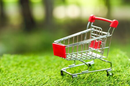 trolley on green grass idea for shopping