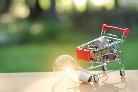 trolley with coins and electric glass bulb, idea for shopping and online payment using as business background Stok Fotoğraf