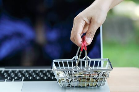 human hand holding shopping cart and coins on computer, idea for shopping and online payment using as business background Stok Fotoğraf - 132392641