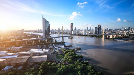Panorama view of Bangkok city with Business building and Chao Phraya River Stok Fotoğraf