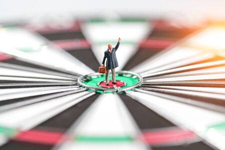 Miniature people: businessman standing on dartboard target center idea of financial and business goal Reklamní fotografie
