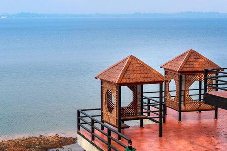 viewpoint of reservoir Bangpha Chonburi, Thailand with blue sky Stok Fotoğraf - 132392770