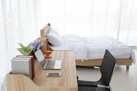 white living room with bed 스톡 콘텐츠